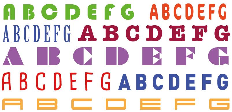 Snijteksten, diverse lettertypes