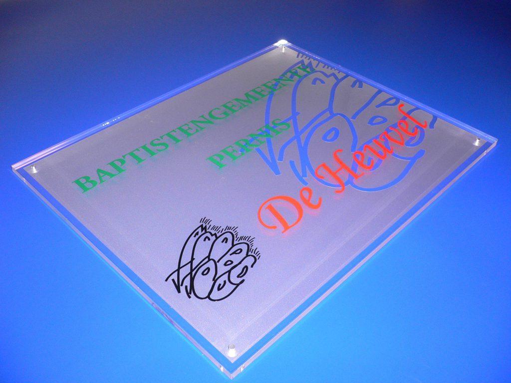 bord uit helder acrylaat / pvc